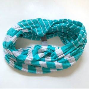 Aerie Lightweight Teal Striped Infinity Scarf NWT